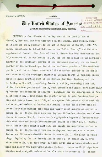 Certificate of Register, John M. Narner, page 1.