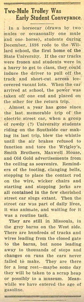 Two-Mule Trolley was Early School Conveyance, page 3.