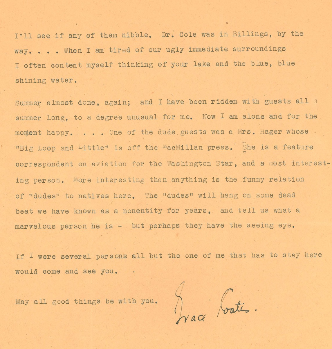 Letter to Frank Bird Linderman from Grace Stone Coates