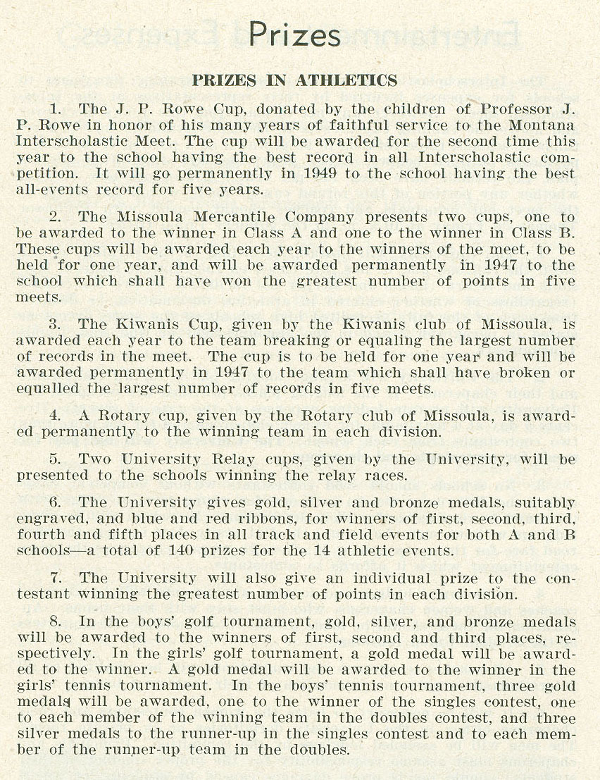 University of Montana Announcement of the 40th Annual Inter-Scholastic Meet, page 2 and page 14