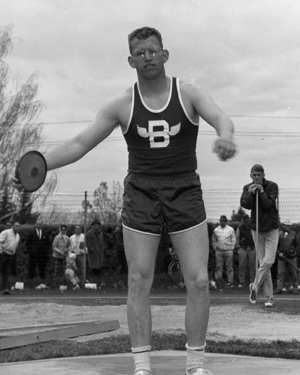 Butte discus thrower at meet