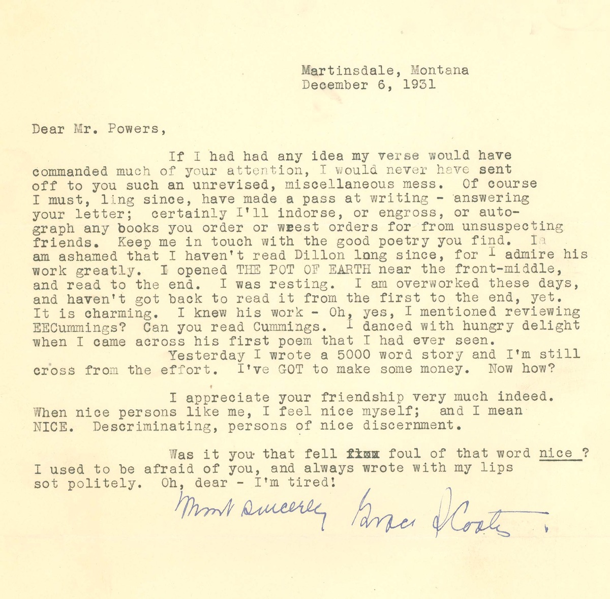 Letter to J.A. Powers from Grace Stone Coates
