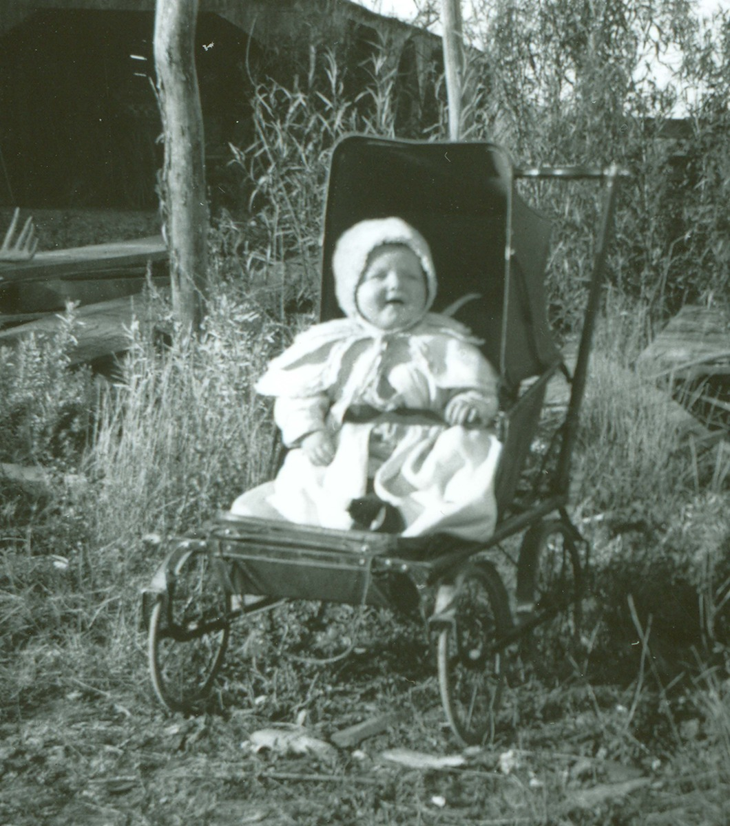 Little Robert Asbridge in a baby carriage at the Lazy X Ranch