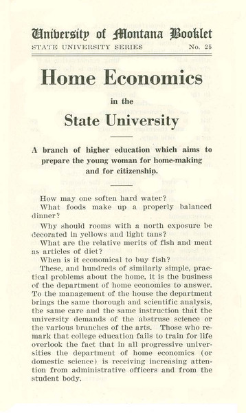 Home Economics in the State University
