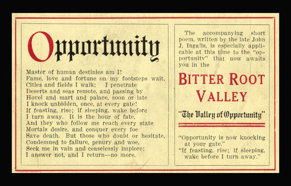 Bitter Root Valley: The Valley of Opportunity, cover.