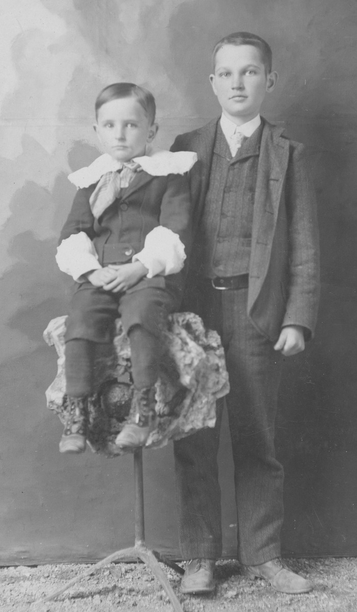 Studio photograph of two boys