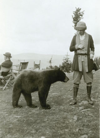 Mary Elrod and bear at Granite Park Chalet