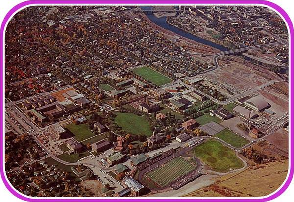 Color Postcard of The University of Montana Campus from Mount Sentinel to campus.<br />