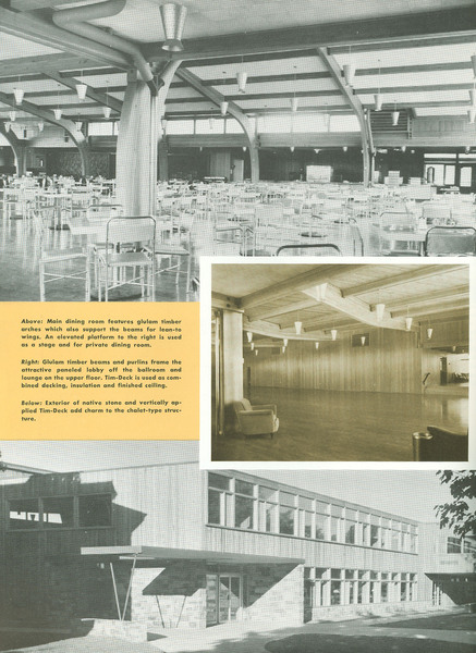 """Timber Arches, Beams and Siding Give 'Relaxed Look' to Student Union Building at MSU,"" page 6."