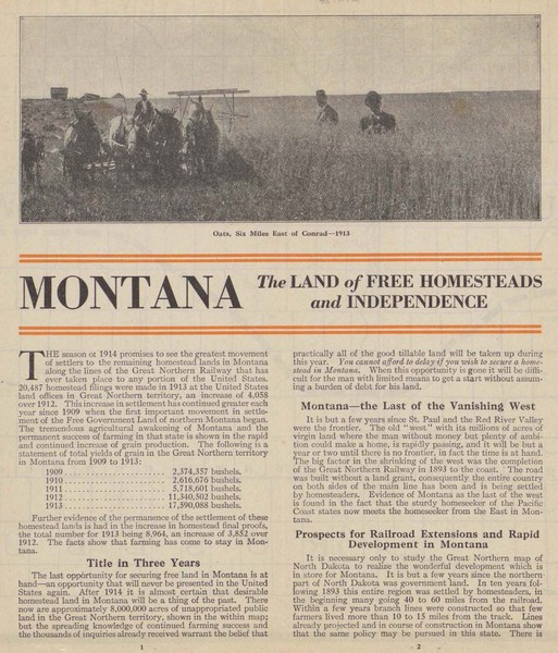 Montana Free Homestead Land, verso, pages 1 and 2.