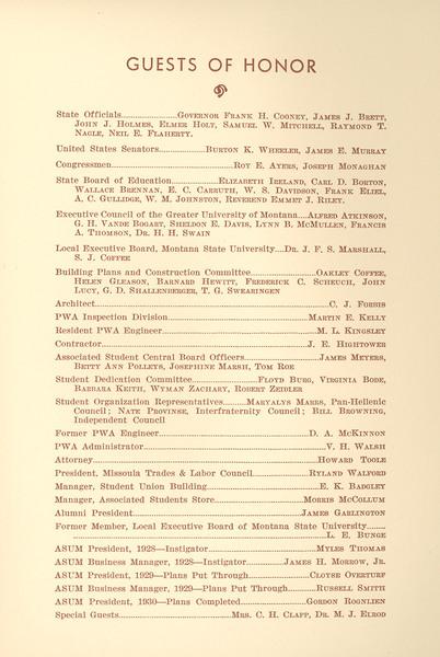 Dedication Program, Student Union Building, page 3.