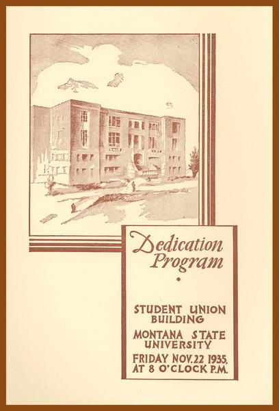 Dedication Program, Student Union Building, cover