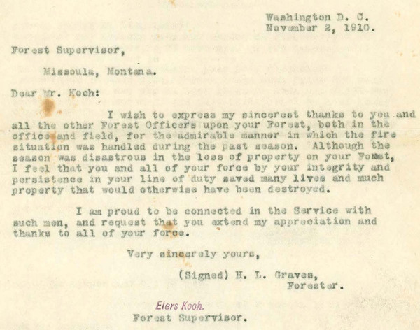 H.L. Graves to Elers Koch, typewritten letter.