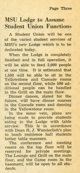 MSU Lodge to Assume Student Union Functions, page 3.