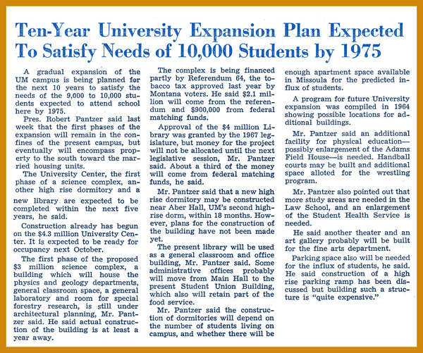 Ten-Year University Expansion Plan Expected to Satisfy Needs of 10,000 Students by 1975, page 1<br />