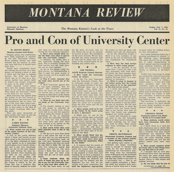 """Pro and Con of University Center,"" page 1."