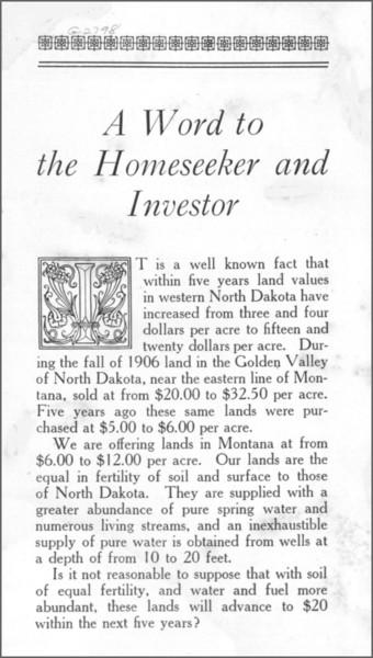 Montana Land, page 1.