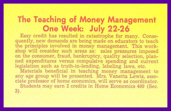 The Teaching of Money Management