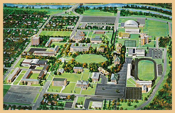 Color Postcard of The University of Montana Campus from south<br />