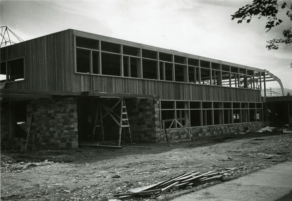Construction of the north side of the Lodge.