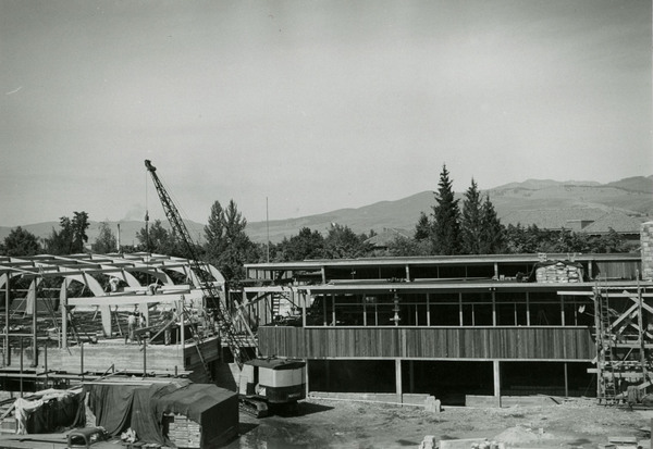 Construction of the south side of the lodge.