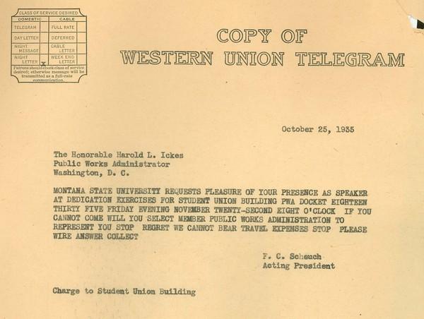 Telegram; F.C. Scheuch, Acting University President to Harold L. Ickes, PWA