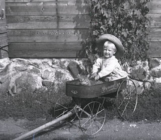 Child in a wagon with a cat.
