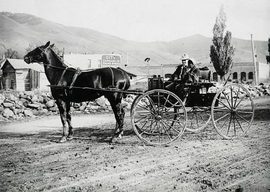 Couple in horse drawn wagon.