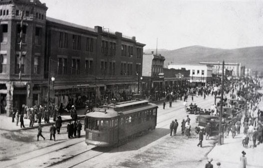Street car on Higgins Avenue, Missoula, Montana.