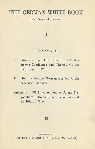The German White-Book, table of contents.