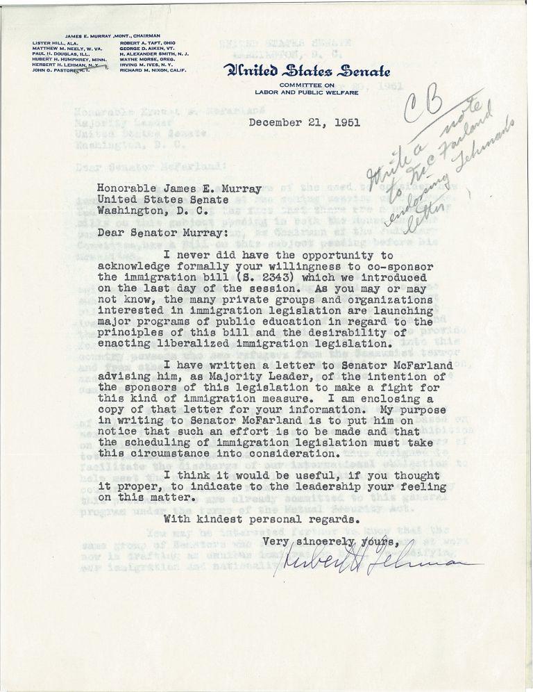 Letter from senator hubert lehman to senator james murray archives lehmantomurrayg spiritdancerdesigns Choice Image