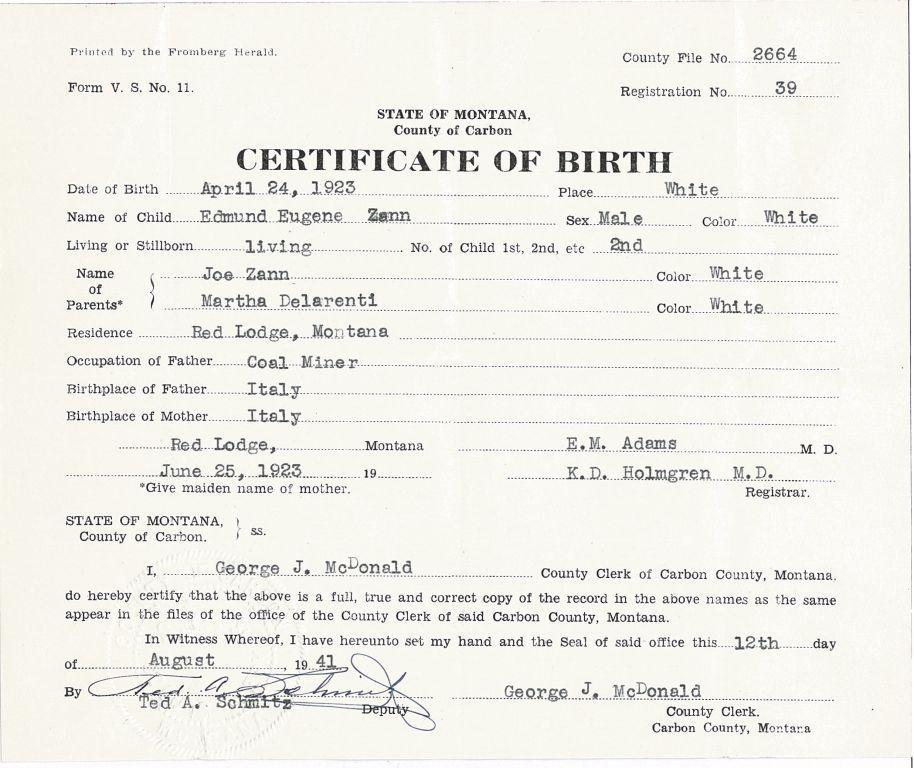 Birth Certificates From The Red Lodge Canning Company Records