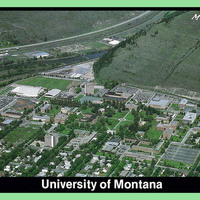 Color Postcard of The University of Montana Campus from campus to Mount Sentinel<br />