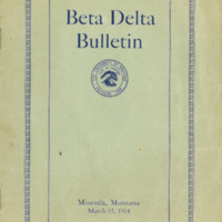 Beta Delta Bulletin, cover and page 1<br />