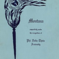 Montana Phi Delta Theta Fraternity Petition, cover page 1, 2, 17, 18, 19, 20, 27, 28<br /><br />
