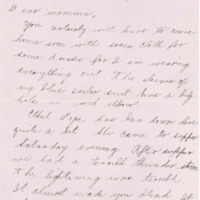 Letter from Ruth Line to her Mother