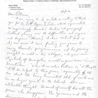 Letter from Helen Vendler to Patricia Goedicke