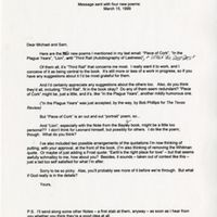 Letter to Michael Wiegers and Sam Hamill, March 15, 1999