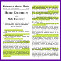Home Economics in the State University, page 1 and 2.