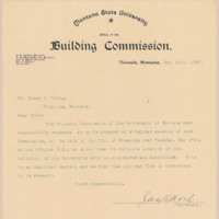 Letter to University President Oscar J Craig from Building Commission<br />