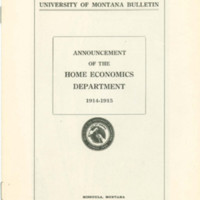 University of Montana Bulletin, Announcement of the Home Economics Department