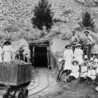 Outing at mine entrance, Elkhorn, Montana
