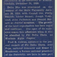 Phi Delta Theta Installed Today, page 1<br />