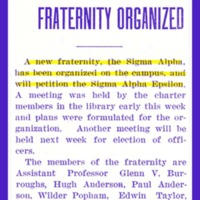 Sigma Alpha Social Fraternity Organized, page 3<br /><br />
