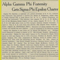 Alpha Gamma Phi Fraternity Gets Sigma Phi Epsilon Charter, page 1<br /><br />