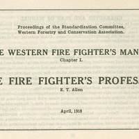 The Western Firefighters Manual: Chapter I The Firefighters Profession, cover.