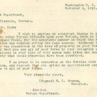 H.L. Graves to Elers Koch, typewritten letter.