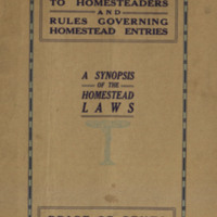 Instructions to Homesteaders and Rules Governing Homestead Entries, cover.
