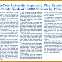 Ten-Year University Expansion Plan Expected to Satisfy Needs of 10,000 Students by 1975, page 1<br /><br />