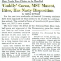 "'Cuddly' Cocoa, MSU Mascot Bites, Has Nasty Disposition,"" page 5."